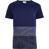Navy Boxfresh spliced print t-shirt