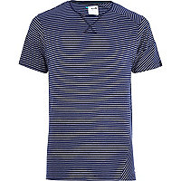 Navy Boxfresh mixed stripe t-shirt