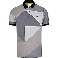 Grey Boxfresh colour block polo shirt