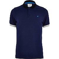 Navy Boxfresh contrast trim polo shirt