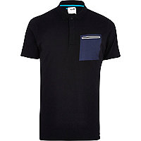 Black Boxfresh contrast pocket polo shirt