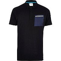 Black Boxfresh contrast pocket polo shirt