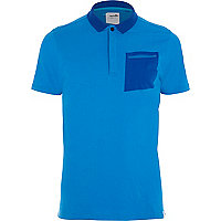 Blue Boxfresh contrast pocket polo shirt