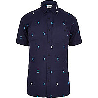 Navy Boxfresh cross print shirt