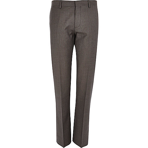 Brown stripe slim suit trousers