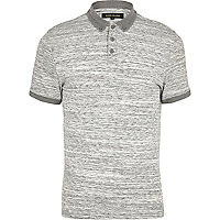 Light grey space dye polo shirt