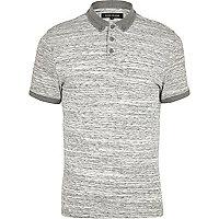 Light grey space dye polo shirt