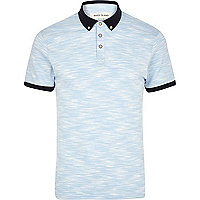 Light blue space dye polo shirt
