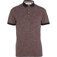 Dark red space dye polo shirt