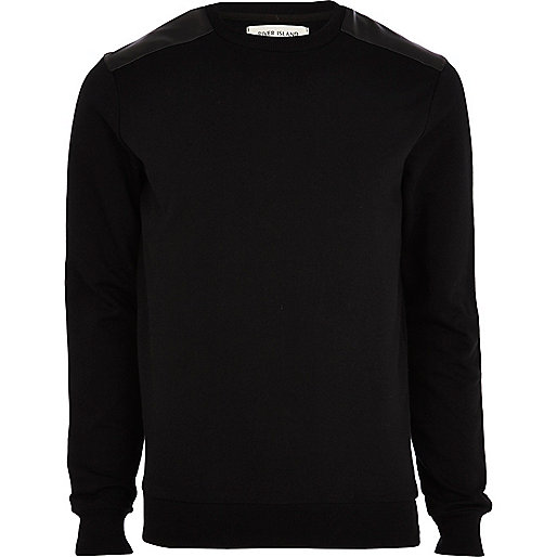 Black leather-look shoulder patch sweatshirt