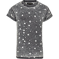 Grey burnout star print t-shirt