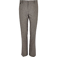 Grey linen-blend slim suit trousers