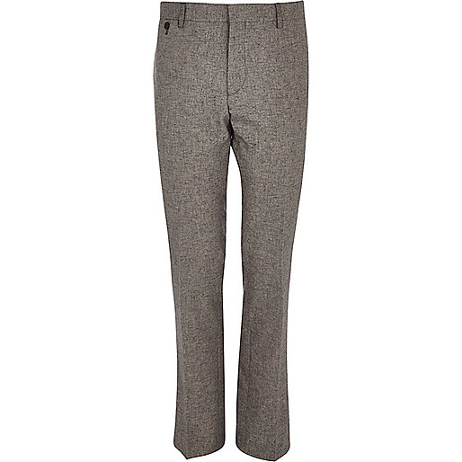 Grey melange slim suit trousers