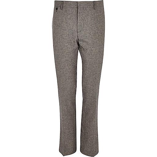 Grey melange slim suit pants