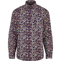 Navy paisley long sleeve shirt