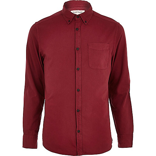 Dark red long sleeve Oxford shirt