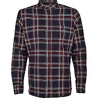 Navy grandad collar check shirt
