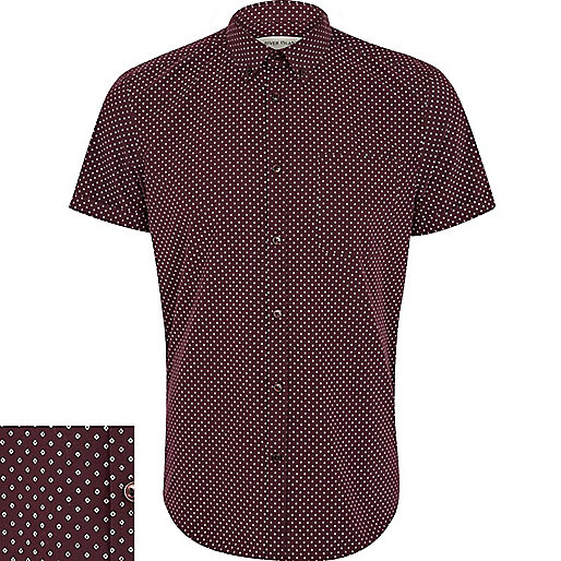 Purple diamond ditsy print short sleeve shirt