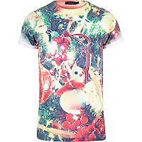White Christmas tree print t-shirt