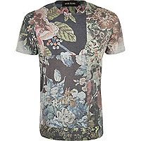 Grey tapestry print collage t-shirt