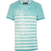 Turquoise burnout stripe crew neck t-shirt