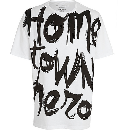 White home town hero print oversized t-shirt