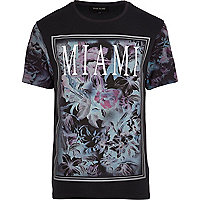 Black floral Miami print t-shirt