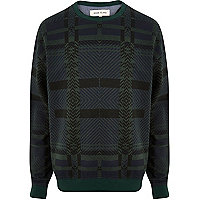 Dark green check oversized sweatshirt