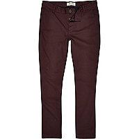Dark red skinny stretch chinos