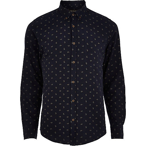Navy ditsy paisley long sleeve shirt