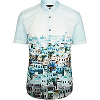 Blue town print short sleeve shirt