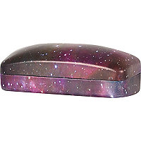 Purple galaxy print sunglasses case