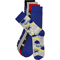 Grey graffiti print mixed socks pack