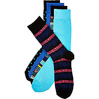Turquoise mixed print socks pack