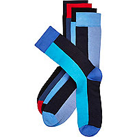 Blue colour block socks pack
