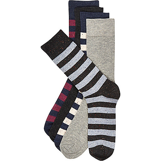 Navy neppy stripe socks pack