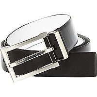 Black and white reversible belt