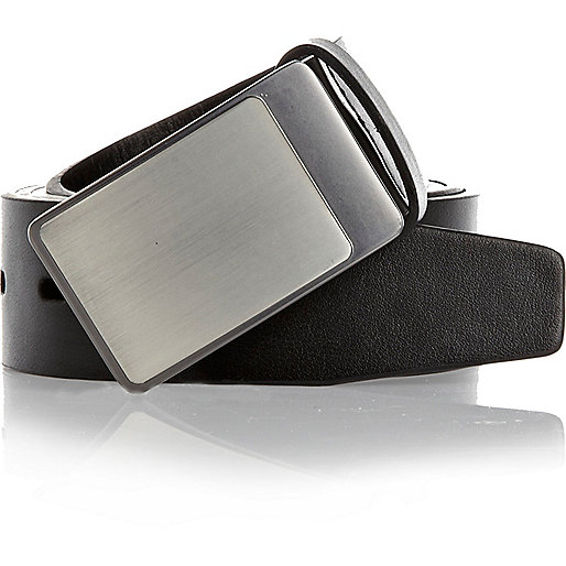 Black two-tone metal plate belt