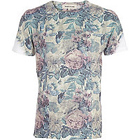 Ecru floral newspaper print t-shirt