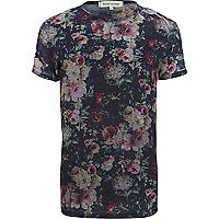 Dark grey floral burnout t-shirt
