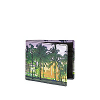 Green palm tree print wallet