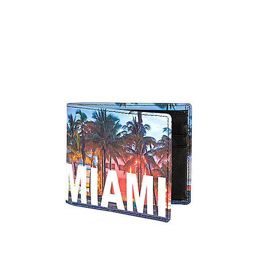 Blue Miami palm tree print wallet