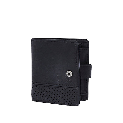 Black perforated panel wallet