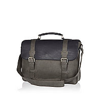 Grey colour block satchel