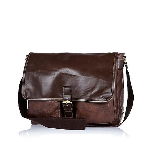 Brown single buckle satchel