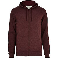 Dark red zip through hoodie