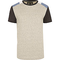 Ecru colour block shoulder patch t-shirt