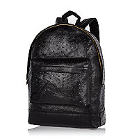 Black MiPac Gold faux ostrich backpack