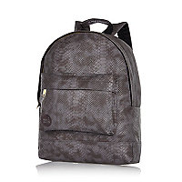 Grey MiPac Gold faux python backpack