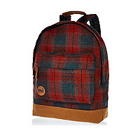 Red MiPac plaid rucksack
